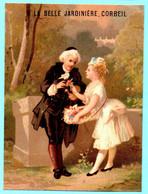 Rare Et Belle Chromo A La Belle Jardinière Corbeil. Jeune Marchande De Fleurs Et Client. Imp. Testu Massin 24-30/2 - Autres