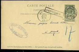 Entier, Obl. Ambulant: AMBt - BRUXELLES - ARLON 1895  + Griffe Encadrée De GEMBLOUX - Sello Lineal