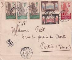 GABON - Lettre Recommandé De Libreville Du 21/8/1921 Affranchie Avec Les YT N° 36 (x3), 57, 59, 81 Pour Poitiers - Briefe U. Dokumente