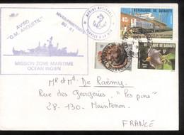 Lettre Philatélique Djibouti 1981 - Service à La Mer Aviso Anquetil - Thème Bateaux / Boats - Gibuti (1977-...)