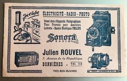 Buvard SONORA ELECTRICITE RADIO PHOTO   Maison Julien ROUVEL  à  BONNIERES - Ohne Zuordnung