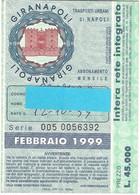 Lotto N. 2 Biglietti Abbonamenti Mensili Giranapoli Ott98 E Gen 99 (19) - Mundo
