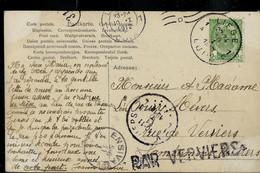 Carte Fantaisie: Obl. LIEGE  - LUIK  - 1A - 1C -  Du 10/01/1912 + Obl: ENSIVAL Et Griffe : PAR  VERVIERS - Linear Postmarks