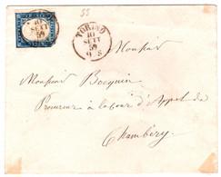 N°12 Royaume De Sardaigne Sur Lettre Turin à Chambéry - 1849-1876: Periodo Clásico