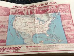MAP SOUTH VIET NAMVIETNAM Ancient Tourist Map Before 1975.provinces Of Vietnam(NATION HIEP CHUNG QUOC-VẠN VẬT KỲ QUAN.) - Other
