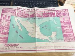 MAP SOUTH VIET NAMVIETNAM Ancient Tourist Map(THE NATION ME TAY CO NOW MEXICO-VẠN VẬT KỲ QUAN.)-1psc - Other