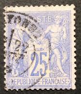 25c 2 N°68 Sage 25c Outremer Bayonne 22/8/76 - 1876-1878 Sage (Tipo I)