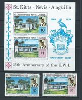 St Christopher Nevis Anguilla 1974 University Set Of 2 & Miniature Sheet MNH - St.Christopher-Nevis-Anguilla (...-1980)