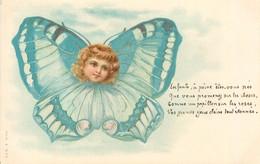 """CPA ENFANT  Dessiné """"Enfant En Papillon Bleu""""  / SURREALISME  /  Editeur AMB - Kindertekeningen"""