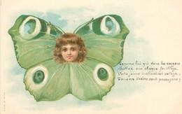 """CPA ENFANT  Dessiné """"Enfant En Papillon""""  / SURREALISME  /  Editeur AMB - Kindertekeningen"""