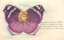 "CPA ENFANT  Dessiné ""Enfant En Papillon Violet""  / SURREALISME  /  Editeur AMB - Kindertekeningen"