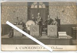 CF / Vintage Old Photo Circus // CPA Carte Photo  A CAPOLONGO Et Son Orchestre  CIRQUE - Musica E Musicisti
