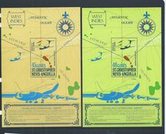 St Christopher Nevis Anguilla 1974 Golden Rock Airport Set Of 2 Miniature Sheets MNH - St.Christopher-Nevis-Anguilla (...-1980)