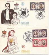 MONACO LOT DE 2 ENVELOPPES PREMIER JOUR EMISSION DU MARIAGE RAINIER ET GRACE 19 AVRIL 1956 - FDC