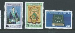 Saint Kitts 1985 Mt Olive Masonic Lodge Part Set Of 3 MNH - St.Kitts And Nevis ( 1983-...)