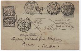 Entier SAGE Renvoyé Pour Omission D'adresse, Reste Dans Le Service Postal Avec TAXE DUVAL Comme CP NA PARIS 1892 - 1876-1898 Sage (Tipo II)
