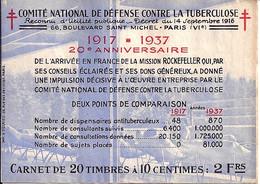 "CARNET ""ANTI TUBERCULOSE"" DE 1937 COMPLET - Antitubercolosi"
