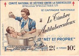 "CARNET ""ANTI TUBERCULOSE"" DE 1938 COMPLET - Antitubercolosi"