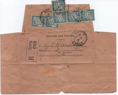 TAXE 6x 5c Banderole / Avis D'arrivée Mandat Télégraphique Recommandé Guichet Poste Restante CORTE CORSE 1939 - 1859-1955 Storia Postale