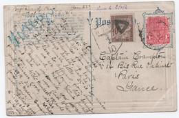 Rare Taxe Pour SURTAXE MARITIME UPU > 300 Milles Marins AUSTRALIE NSW 1911 Pour Paris 10c Duval - 1859-1955 Storia Postale