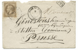 N° 28 NAPOLEON SUR LETTRE / GARE DE NIMES POUR STETTIN POMERANIE PRUSSE / 9 OCT 1870 / PRISONNIER DE GUERRE - 1849-1876: Periodo Clásico