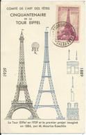1939 - N° 429 Oblitéré (o) SEUL Sur Carte Commémor. 50 Ans De La TOUR EIFFEL - Lettres & Documents