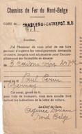DDY 124 - Coupon De L'Agence En Douane Nord-Belge De CHARLEROI-ENTREPOT N.B. - TP Képi 1934 Vers Chatelineau - Nord Belge