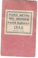 Plan Du METRO De Paris 1945 Spécial G.I. Paris Underground Paris Subway 1945 Melottée éditeur - Europe