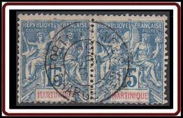 Martinique 1892-1906 - N° 36 (YT) N° 35 (AM) Paire Oblitérée De Fort De France / Chargement. - Used Stamps