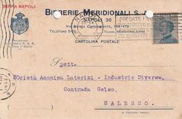 A24. Napoli.  1922. Annullo Guller NAPOLI *FERROVIA*, Su Cartolina Postale PUBBLICITARIA.... BIRRERIE MERIDIONALI... - Marcofilía