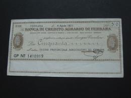 ITALIE - 50 Cinquanta Lire - Banca Di Credito Agrario Di Ferrara  **** EN ACHAT IMMEDIAT **** - 50 Lire