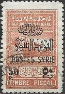 SYRIA 1945 Fiscal Stamp Surcharged - 50p. On 75p - Brown FU - Oblitérés