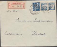 PONTEDELGADA  - 1938 REGISTERED LABEL COVER TO VADUZ LIECHTENSTEIN, UNUSUAL DESTINATION - Ponta Delgada