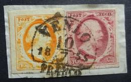 NEDERLAND   1852    Nr. 2 En 3   Op Fragment  /   Zeer Ruim  Gerand   Stempel Venlo   NVPH 2017   CW 205,00 - Gebruikt