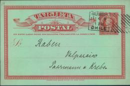 1908, Ortskarte Mit Hoster Maschinenstempel VAPARAISO - Chili