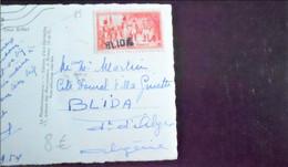 """Cachet Annulation Arrivée """"BLIDA"""" (Algérie) Timbre Légion D'honneur Napoleon Cp Paris (timbre Pas Courant Sur Cp) - Handstempel"""