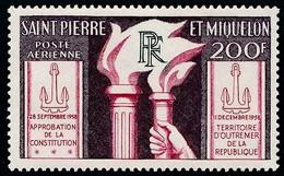 ST-PIERRE ET MIQUELON 1959 - Yv. PA 26 (*)   Cote= 19,00 EUR - Constitution 11 Décembre 1958  ..Réf.SPM12577 - Unused Stamps