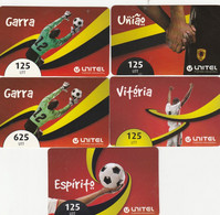 Angola, 5 Different Unitel Football Related Cards, 2 Scans. - Angola