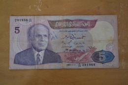 Billets 5 DINAR BANQUE CENTRALE DE TUNISIE - Tusesië