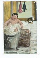 Comic Humour Postcard His Little Splash  Signed Huber Posted 1906 German Made - Humor