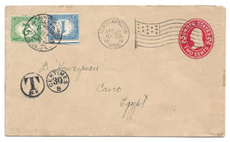 (C04) US COVER NORTH ABINGTON => CAIRO 1911 - TAXE Y&T N°15+17 - N.P.C. PD15+17 - ALEXANDRIA–CAIRO /T.P.O./FOREIGN MAIL - 1866-1914 Khedivate Of Egypt