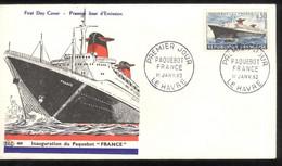 FDC France - Paquebot France - Paris Janvier 1962 - 1960-1969
