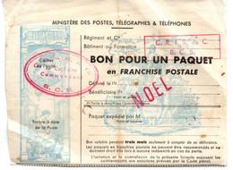 BON POUR UN PAQUET FRANCHISE POSTALE PERIODE NOEL UNITE MILITAIRE C.R.I.R.AC - Otros