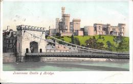 CARTE POSTALE ECOSSE INVERNESS CASTLE & BRIDGE - TIMBRES ONE PENNY ET TAXE A PERCEVOIR 5 ET 10 CENTIMES - Inverness-shire