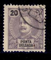 ! ! Ponta Delgada - 1897 D. Carlos 20 R - Af. 17 - Used - Ponta Delgada