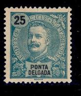 ! ! Ponta Delgada - 1897 D. Carlos 25 R - Af. 18 - No Gum - Ponta Delgada