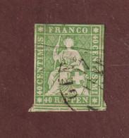 30  Ou  30a  Ou  30b  De 1854-62 - SUISSE - Oblitéré 40r . Vert - Voir Les 2 Scannes - Gebraucht