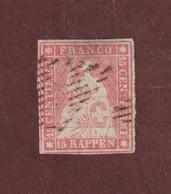28  Ou  28a  Ou  28b  De 1854-62 - SUISSE - Oblitéré - 15r . Rose  -  Voir Les 2 Scannes - Gebraucht