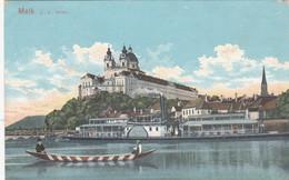 524) MELK A. D. DONAU - SCHIFF Und Rot Weißes Ruderboot - ALT !! 1910 - Melk