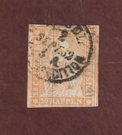 29  Ou  29a  Ou  29b  De 1854-62 - SUISSE - Oblitéré - 20r . Orange  -  Voir Les 2 Scannes - Gebraucht